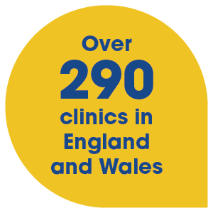 Over 290 clinics in England and Wales